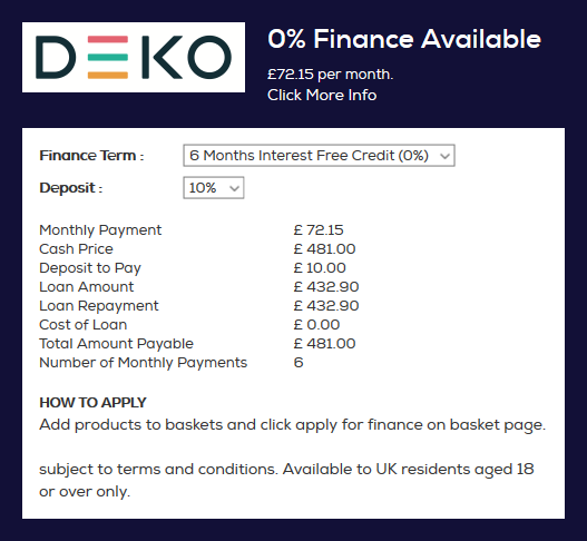 4658d904db2 We offer interest-free to help you spread the cost of your purchase over 12  months. The value of the loan needs to be over £250 and you can choose a  deposit ...
